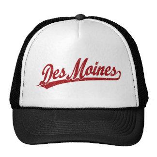 Logo de manuscrit de Des Moines en rouge Casquettes De Camionneur