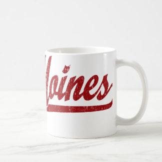 Logo de manuscrit de Des Moines en rouge Mug Blanc