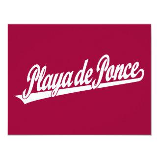 Logo de manuscrit de Playa de Ponce dans le blanc Carton D'invitation 10,79 Cm X 13,97 Cm