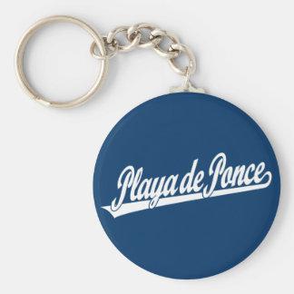 Logo de manuscrit de Playa de Ponce dans le blanc Porte-clé Rond