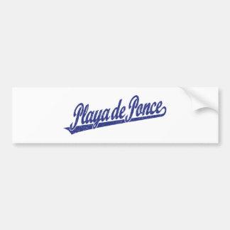 Logo de manuscrit de Playa de Ponce dans le bleu a Autocollant De Voiture