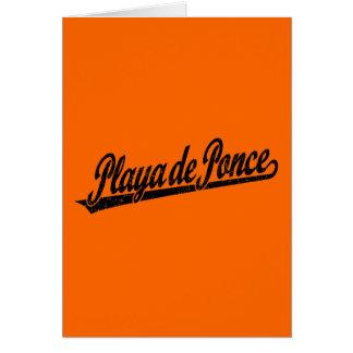 Logo de manuscrit de Playa de Ponce dans le noir a Carte De Vœux