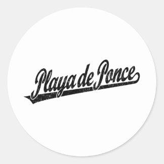 Logo de manuscrit de Playa de Ponce dans le noir Sticker Rond