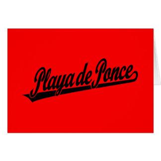Logo de manuscrit de Playa de Ponce dans le noir Carte De Vœux