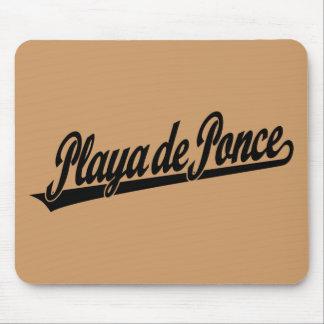 Logo de manuscrit de Playa de Ponce dans le noir Tapis De Souris