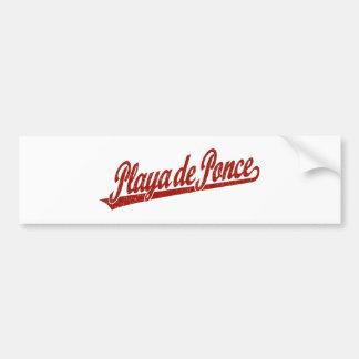 Logo de manuscrit de Playa de Ponce en rouge affli Autocollant De Voiture