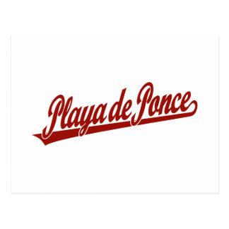 Logo de manuscrit de Playa de Ponce en rouge Carte Postale