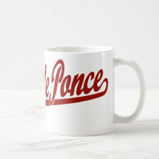 Logo de manuscrit de Playa de Ponce en rouge Mug Blanc
