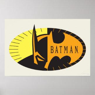 Logo de silhouette du symbole   de Batman Poster