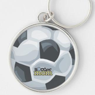 Logo et ballon de football de maman du football porte-clé rond argenté