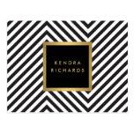 Logo fascinant de nom d'or de rétro motif noir et cartes postales