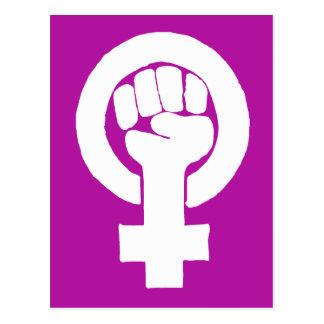 Logo, feminist / feminista, equality / igualidad: postcard