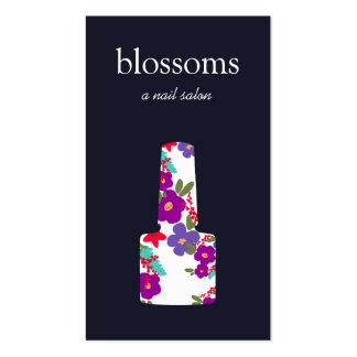Logo floral de vernis à ongles, salon d'ongle, carte de visite standard