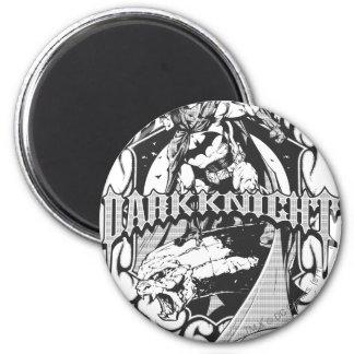 Logo gris blanc foncé d'ensemble du chevalier   de magnet rond 8 cm