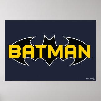 Logo jaune du symbole | de Batman et noir nommé Poster