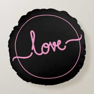 Logo love polyester round pillow