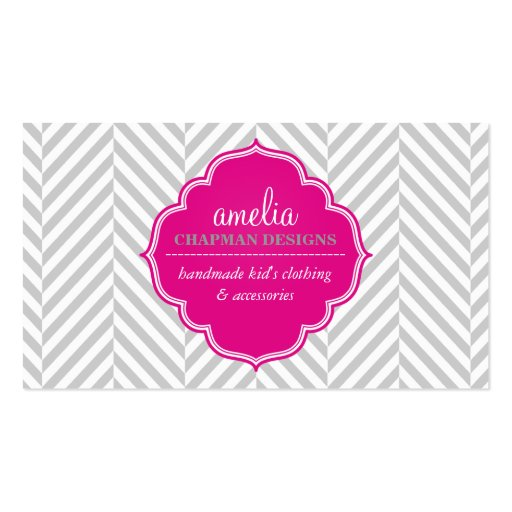 LOGO modern herringbone pattern pink badge grey Business Card