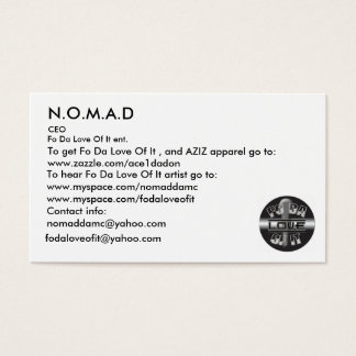 Logo, N.O.M.A.D, To hear Fo Da Lov... - Customized Business Card