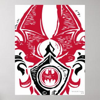 Logo noir rouge de crête de timbre de batte du poster