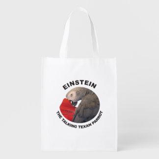 Logo of Einstein the Talking Texan Parrot Reusable Grocery Bag