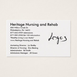 Logo Picture, Heritage Nursing and Rehab , 800 ... Business Card