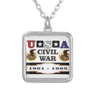 logo usa civil war silver plated necklace