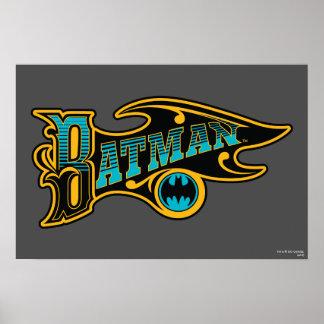 Logo vintage de turquoise de Batman | Poster