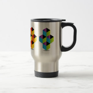 Logo with colorful cubes and shadow travel mug