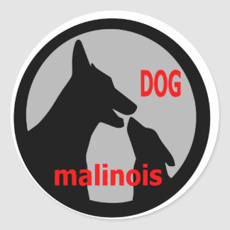 logodogmalinois1 classic round sticker