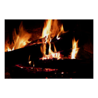 Logs in the Fireplace Warm Fire Photography Perfect Poster