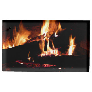 Logs in the Fireplace Warm Fire Photography Place Card Holder
