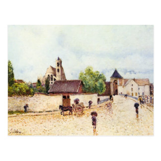 Loing at Moret in the rain postcard