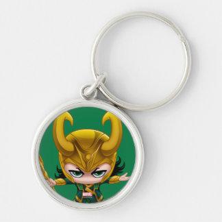 Loki Stylized Art Silver-Colored Round Keychain