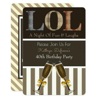 """""""LOL"""" Birthday Party Invitation Stripes"""