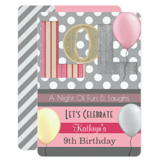 """LOL"" Girl Slumber Party Birthday Card"