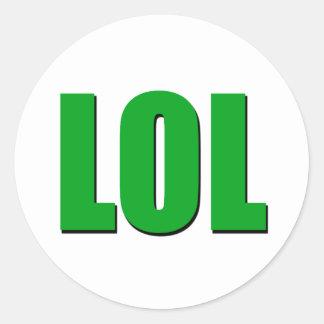 LOL green Classic Round Sticker