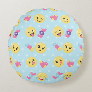 LOL OMG Emoji Pattern Round Pillow