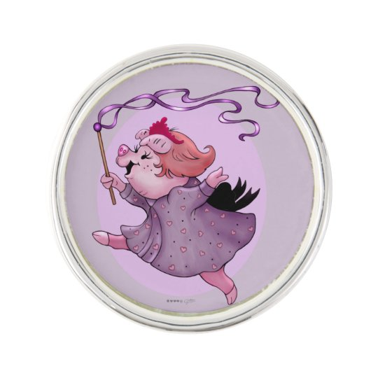 LOLA PIGGY CARTOON PlanetJill Round LapelPin Lapel Pin