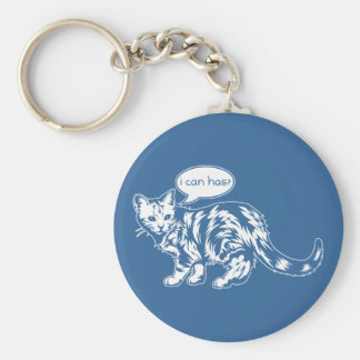 lolcat - i can has? basic round button keychain