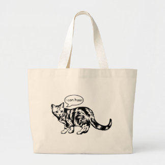 lolcat - i can has? large tote bag