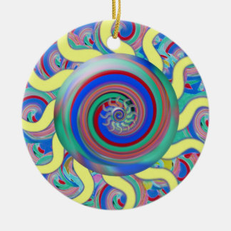 Lollipop Abstract Orament Round Ceramic Ornament
