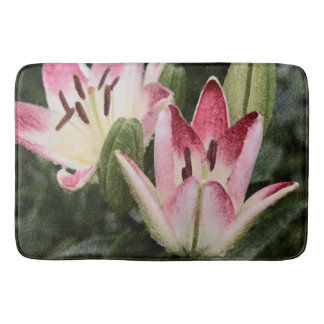 Lollipop Asiatic Lily Flowers and Buds Bath Mat