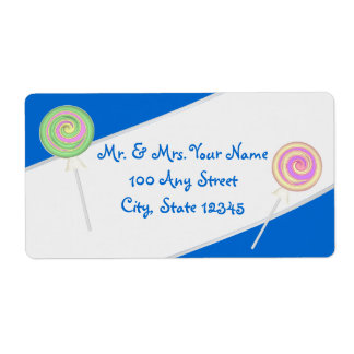 Lollipop Candy Treasures Blue Address Shipping Label