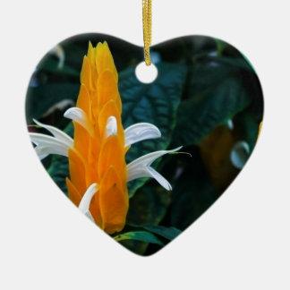 Lollipop flower ceramic heart ornament