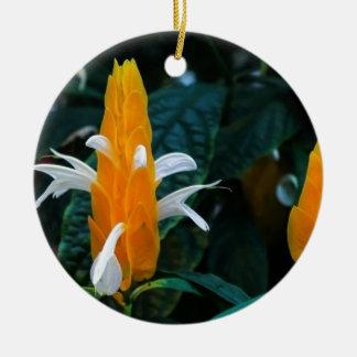 Lollipop flower round ceramic ornament