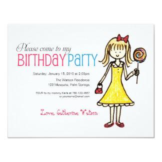 Lollipop, Girl Birthday Party Invitations