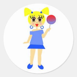 Lollipop Girl Sticker- Blonde Classic Round Sticker