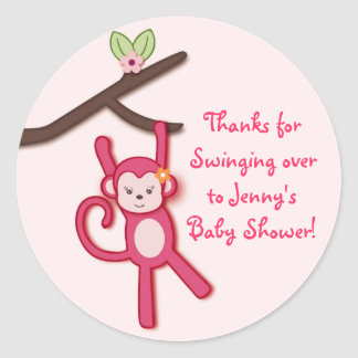 Lollipop Jungle Monkey Shower Favor Stickers
