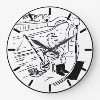 Lollipop Man is Fishing in the Canal Large Clock