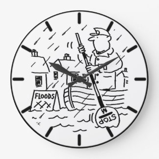 Lollipop Man is Rowing a Boat in the Floods Large Clock